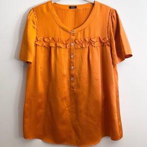 J. Crew Orange Silk Ruffle Trim Blouse